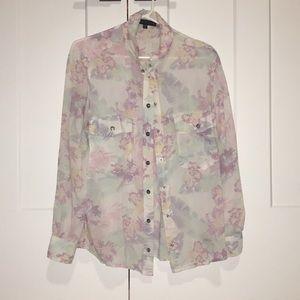 Floral button down blouse shirt